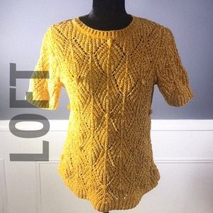 LOFT Gold soft Velour short sleeve Sweater NWT/MP
